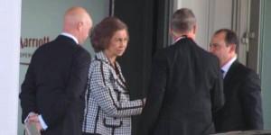 La Reina Sofía entrando al Hotel Marriot de Copenhagen, donde se reunieron los miembros de Bilderberg en el 2014.