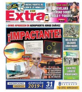 Portada diario Extra de Perú