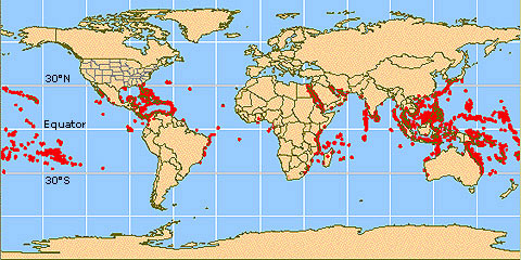 Fig 2 Global Distribution coral reefs