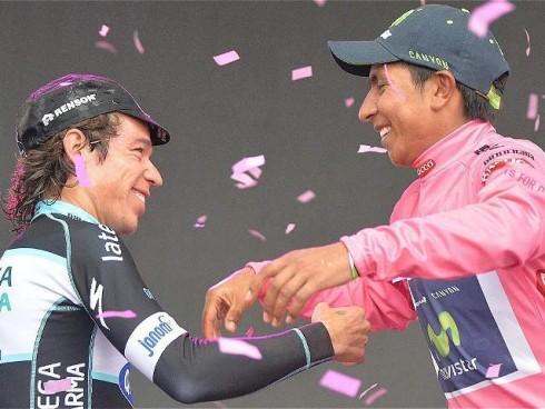 Abrazo de Nairo y Rigo Giro 2014