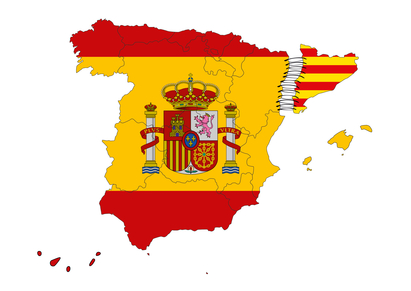 Image of catalonian independence designed by computer using design software, with white background