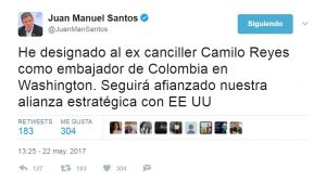 JMS, ex canciller, afianzado, EE UU sin puntos; jueves mayo 25 2017