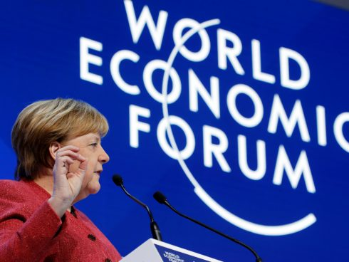 FILE PHOTO: German Chancellor Angela Merkel speaks during the World Economic Forum (WEF) annual meeting in Davos, Switzerland, January 23, 2019. REUTERS/Arnd Wiegmann/File Photo