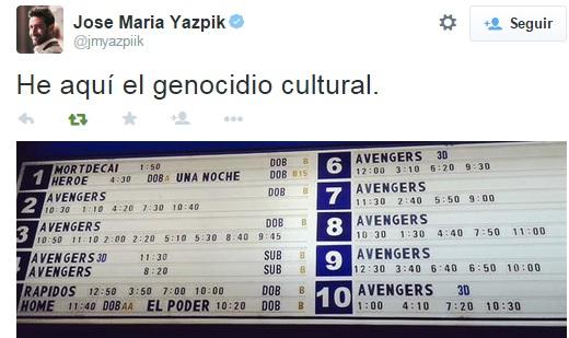 Tweet de apoyo a las palabras de Iñarritu.