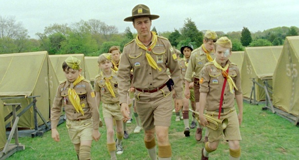 Edward Norton (at center) stars as Scout Master Ward in Wes Anderson's MOONRISE KINGDOM, a Focus Features release.