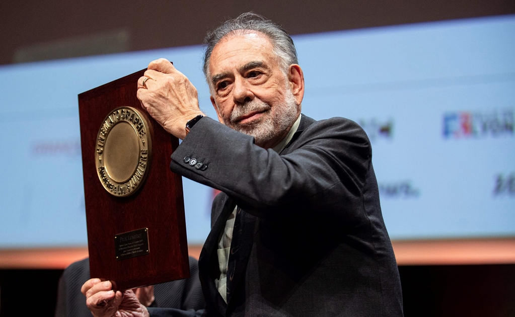 US movie director Francis Ford Coppola reacts on stage after receiving the Lumiere Award during the 11th edition of the Lumiere Film Festival in Lyon, central eastern France, on October 18, 2019. (Photo by ROMAIN LAFABREGUE / AFP)