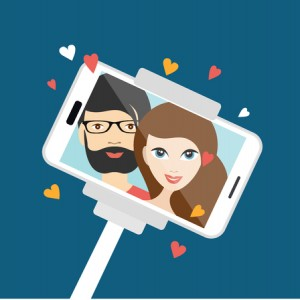 53120977 - couple in love making  selfie photo. vector cartoon illustration.