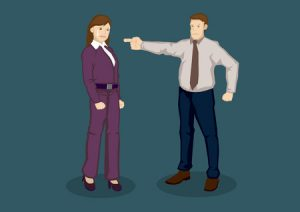 59380476 - cartoon woman worker scolded by boss and cried. vector illustration of being upset at work concept isolated on plain green background.