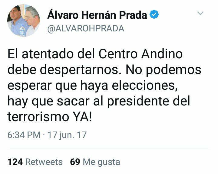 Tuit de Álvaro Hernán Prada