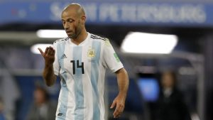 Argentina's Javier Mascherano reacts after an injuring during the group D match between Argentina and Nigeria, at the 2018 soccer World Cup in the St. Petersburg Stadium in St. Petersburg, Russia, Tuesday, June 26, 2018. (AP Photo/Petr David Josek)