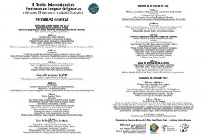 Programación del II Recital Internacional de Escritores en Lenguas Originarias