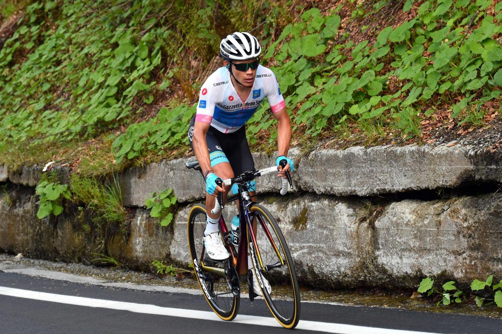 Colombia's rider of team Astana Miguel Angel Lopez climbs during the 18th stage between Abbiategrasso and Prato Nevoso during the 101st Giro d'Italia, Tour of Italy cycling race, on May 24, 2018. ..  Quick Step's German rider Max Schachmann won stage 18 of the Giro d'Italia after a 196km ride to a summit finish at Prato Nevoso. Schachmann had been part of an escape group that opened a lead of over 14 minutes on pink jersey Simon Yates and the other contenders at the start of the final climb..... / AFP / LUK BENIES..