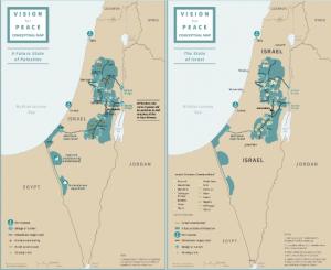 Fronteras del futuro Estado de Palestina y Estado de Israel -Acuerdo Paz Trum