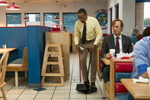 "Giancarlo Esposito as Gustavo ""Gus"" Fring, Bob Odenkirk as Jimmy McGill - Better Call Saul _ Season 3, Episode 2 - Photo Credit: Michele K. Short/AMC/Sony Pictures Television"
