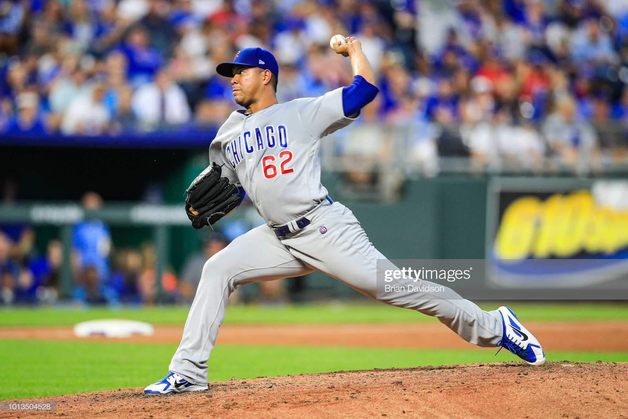 KANSAS CITY, MO - AUGUST 8: Jose Quintana #62 of the Chicago Cubs pitches against the Kansas City Royals during the third inning at Kauffman Stadium on August 8, 2018 in Kansas City, Missouri. (Photo by Brian Davidson/Getty Images)