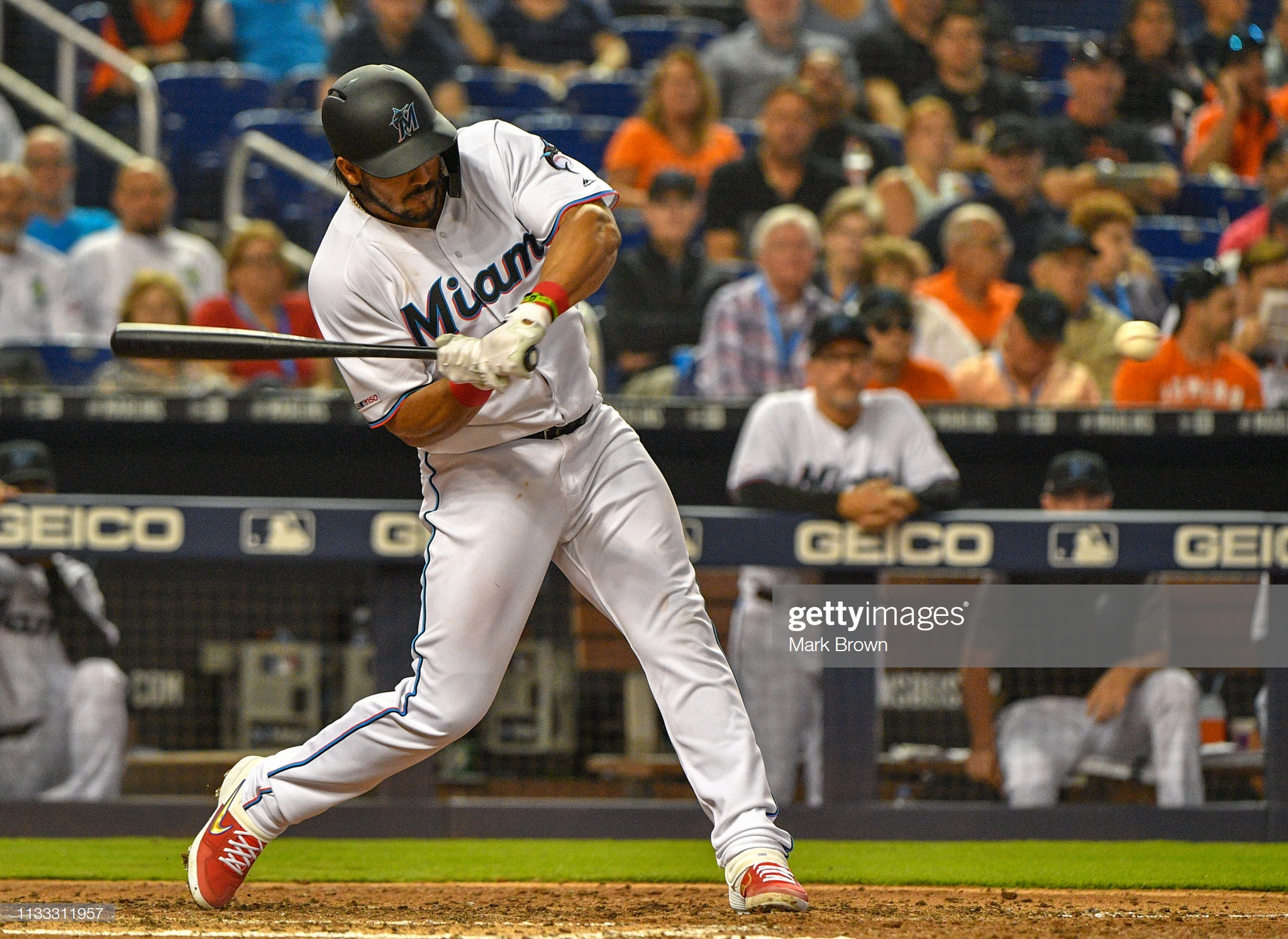 MIAMI, FL - MARCH 28: Jorge Alfaro #38 of the Miami Marlins at bat in the fifth inning against the Colorado Rockies during Opening Day at Marlins Park on March 28, 2019 in Miami, Florida. (Photo by Mark Brown/Getty Images)