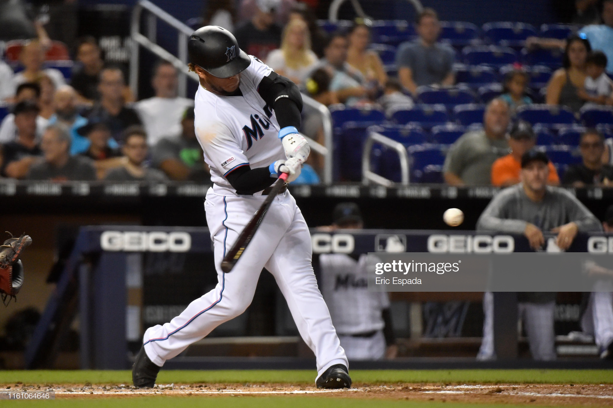 MIAMI, FL - AUGUST 11: Harold Ramirez #47 of the Miami Marlins hits an RBI double in the first inning against the Atlanta Braves at Marlins Park on August 11, 2019 in Miami, Florida. (Photo by Eric Espada/Getty Images)