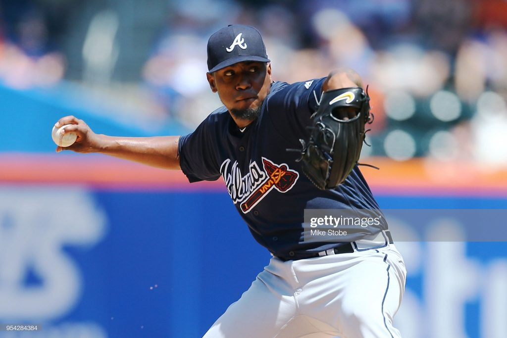 NEW YORK, NY - MAY 03: Julio Teheran #49 of the Atlanta Braves pitches in the second inning against the New York Mets at Citi Field on May 3, 2018 in the Flushing neighborhood of the Queens borough of New York City. (Photo by Mike Stobe/Getty Images)