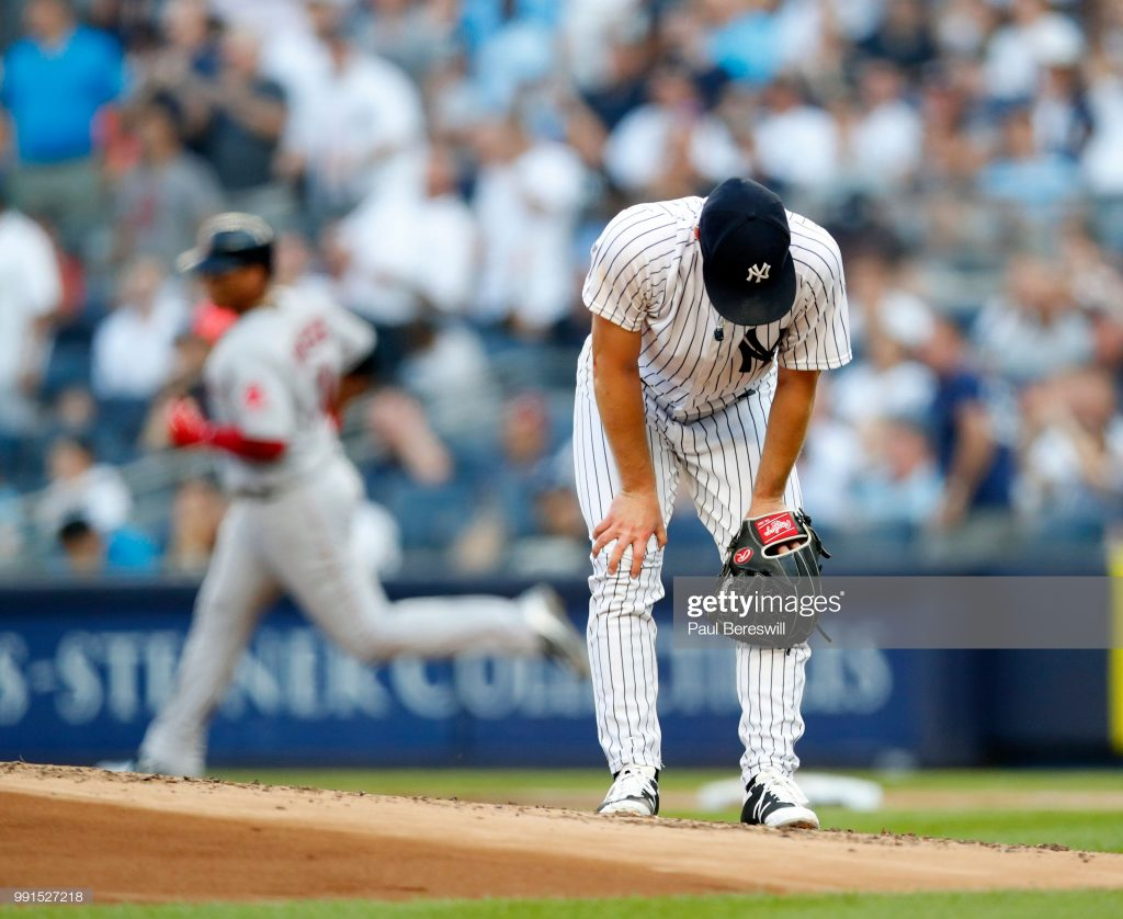 NEW YORK, NY - JUNE 30: Pitcher Sonny Gray #55 of the New York Yankees reacts to giving up a grand slam home run to Rafael Devers in the first inning of an MLB baseball game against the Boston Red Sox on June 30, 2018 at Yankee Stadium in the Bronx borough of New York City. Boston won 11-0. (Photo by Paul Bereswill/Getty Images)