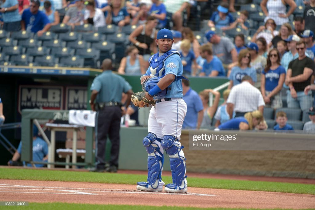 KANSAS CITY, MO - SEPTEMBER 2: Meibrys Viloria #72 of the Kansas City Royals waits behind the plate for a start of game against the Baltimore Orioles at Kauffman Stadium on September 2, 2018 in Kansas City, Missouri. (Photo by Ed Zurga/Getty Images)