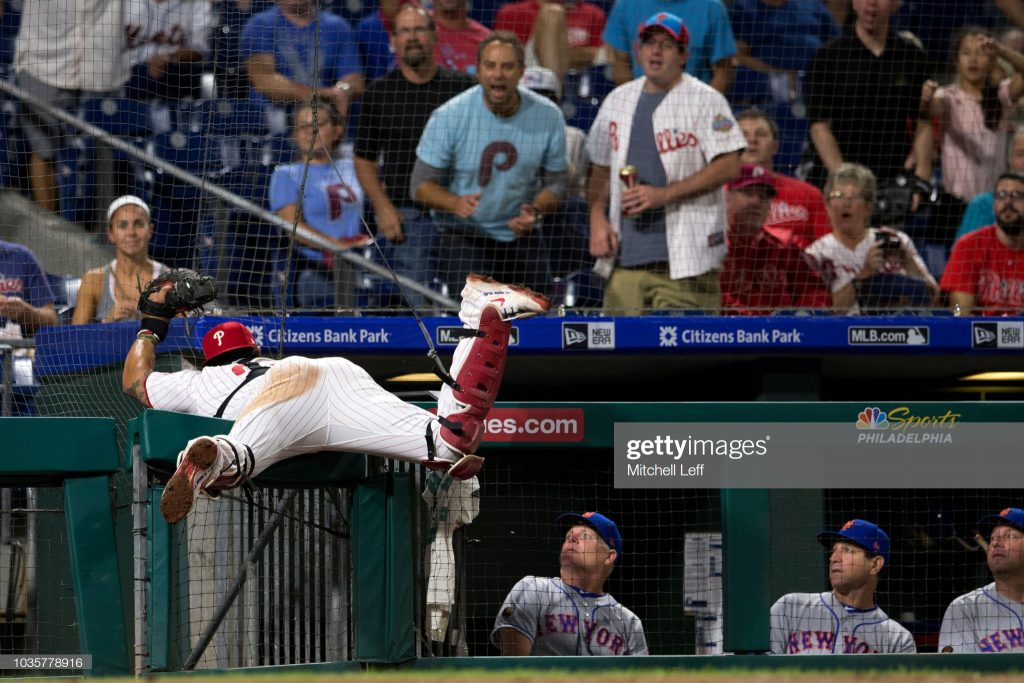 PHILADELPHIA, PA - SEPTEMBER 18: Jorge Alfaro #38 of the Philadelphia Phillies catches a foul ball hit by Amed Rosario #1 of the New York Mets (not pictured) in the top of the third inning at Citizens Bank Park on September 18, 2018 in Philadelphia, Pennsylvania. (Photo by Mitchell Leff/Getty Images)