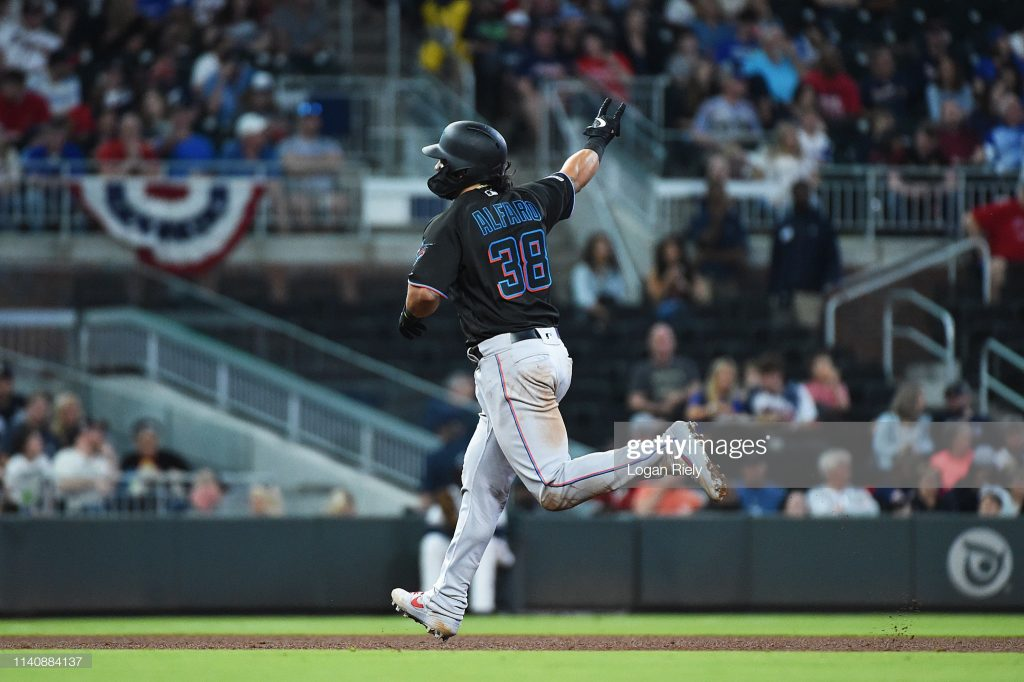 ATLANTA, GEORGIA - APRIL 06: Jorge Alfaro #38 of the Miami Marlins celebrates while rounding the bases after hitting a home run against the Atlanta Braves at SunTrust on April 06, 2019 in Atlanta, Georgia. (Photo by Logan Riely/Getty Images)
