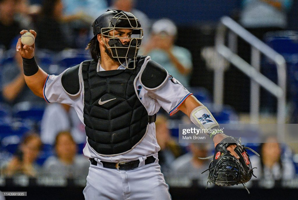 MIAMI, FL - APRIL 17: Jorge Alfaro #38 of the Miami Marlins in action against the Chicago Cubs at Marlins Park on April 17, 2019 in Miami, Florida. (Photo by Mark Brown/Getty Images)