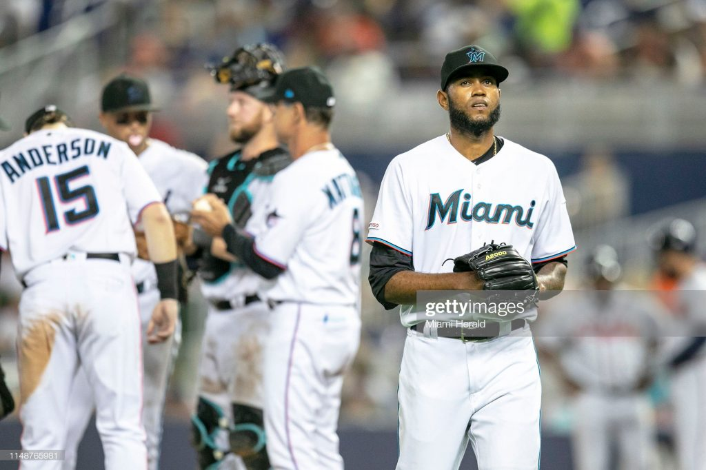 Miami Marlins relief pitcher Tayron Guerrero (56) leaves the mound after being replaced by Austin Brice (37) during the seventh inning against the Atlanta Braves on Sunday, June 9, 2019 at Marlins Park in Miami, Fla. (Daniel A. Varela/Miami Herald/Tribune News Service via Getty Images)