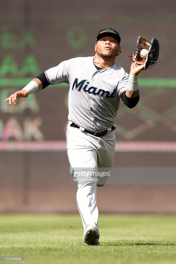 WASHINGTON, DC - MAY 26: Harold Ramirez #47 of the Miami Marlins catches a fly ball during a baseball game against the Washington Nationals at Nationals Park on May 26, 2019 in Washington. DC. (Photo by Mitchell Layton/Getty Images)