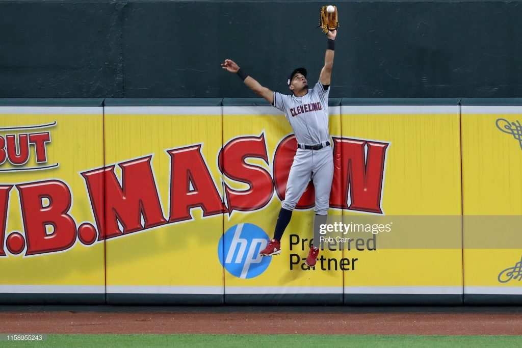 BALTIMORE, MARYLAND - JUNE 28: Oscar Mercado #35 of the Cleveland Indians catches a ball hit by Chance Sisco #15 of the Baltimore Orioles (not pictured) for the third out of the fifth inning at Oriole Park at Camden Yards on June 28, 2019 in Baltimore, Maryland. (Photo by Rob Carr/Getty Images)