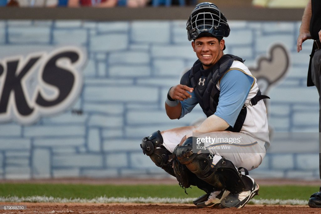 17 June 2014: Carolina League All-Star Jorge Alfaro during the 2014 All-Star game against the California League at Daniel S. Frawley Stadium in Wilmington, De. The California All-Stars won the game 3-2. (Photo by Derik Hamilton/Icon SMI/Corbis/Icon Sportswire via Getty Images)