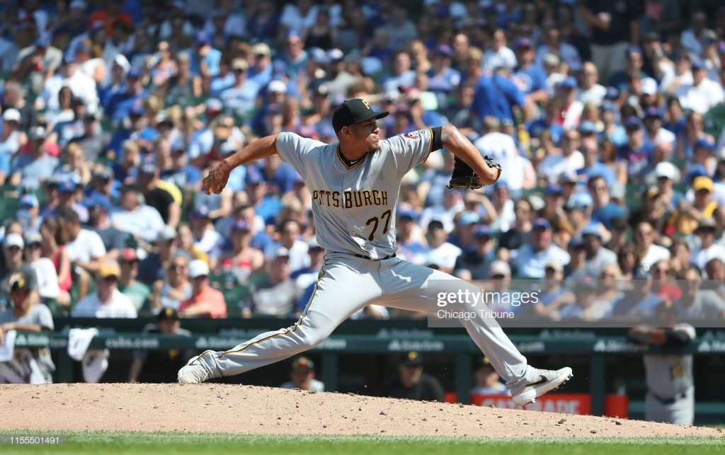 Pittsburgh Pirates pitcher Luis Escobar throws against the Chicago Cubs in the fifth inning at Wrigley Field in Chicago on Saturday, July 13, 2019. The Cubs won, 10-4. (John J. Kim/Chicago Tribune/Tribune News Service via Getty Images)