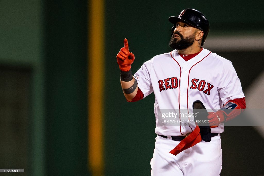 BOSTON, MA - SEPTEMBER 8: Sandy Leon #3 of the Boston Red Sox reacts after hitting an RBI double during the fourth inning of a game against the New York Yankees on September 8, 2019 at Fenway Park in Boston, Massachusetts. (Photo by Billie Weiss/Boston Red Sox/Getty Images)