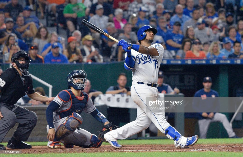 KANSAS CITY, MISSOURI - SEPTEMBER 14: Meibrys Viloria #72 of the Kansas City Royals in the fifth inning at Kauffman Stadium against the Houston Astros on September 14, 2019 in Kansas City, Missouri. (Photo by John Sleezer/Getty Images)