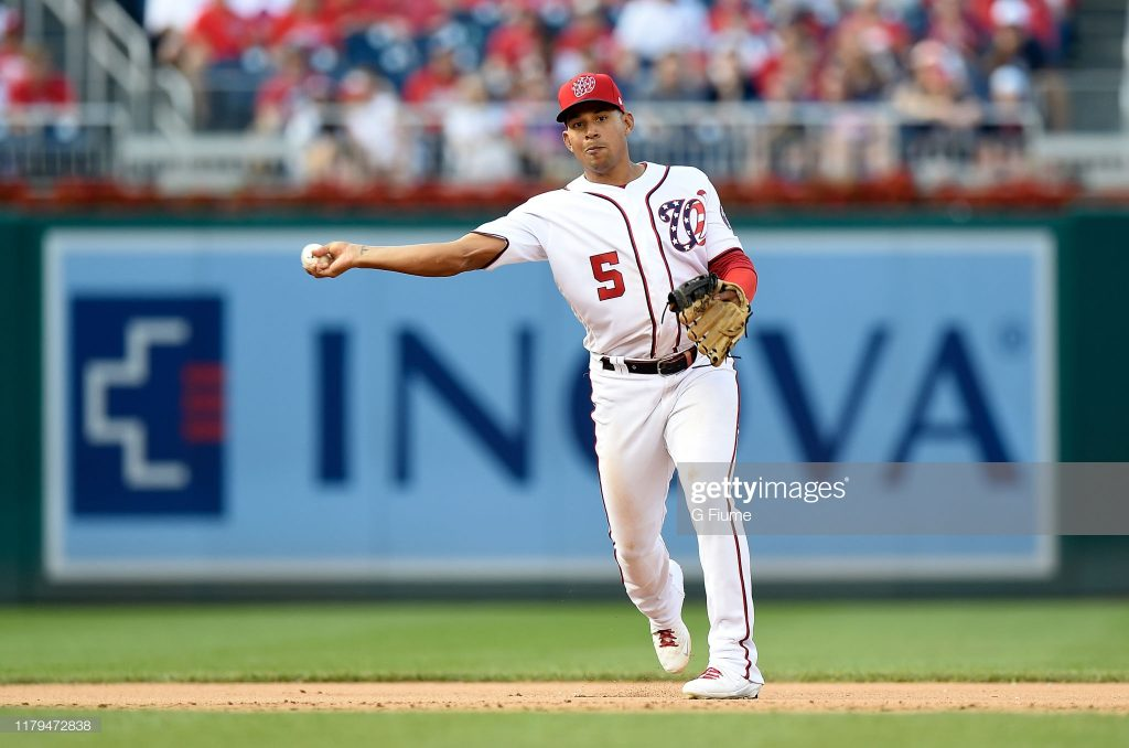 WASHINGTON, DC - SEPTEMBER 29: Adrian Sanchez #5 of the Washington Nationals throws the ball to first base against the Cleveland Indians at Nationals Park on September 29, 2019 in Washington, DC. (Photo by G Fiume/Getty Images)