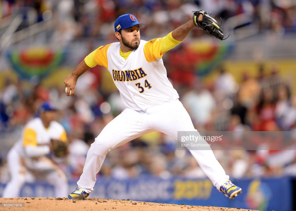 MIAMI, FL - MARCH 12: Colombia pitcher Nabil Crismatt (34) in action during the World Baseball Classic, 1st Round, Pool C game between the Dominican Republic and Colombia at Marlins Park in Miami, FL. (Photo by Juan Salas/Icon Sportswire via Getty Images)