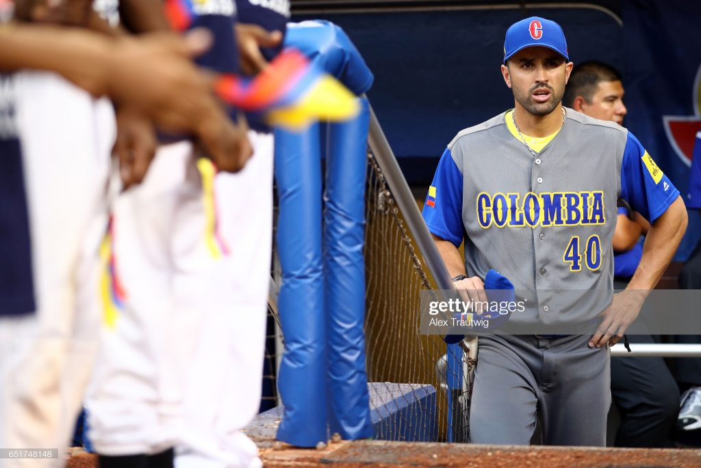 MIAMI, FL - MARCH 10: Manager Luis Urueta #40 looks on from the dugout prior to Game 2 Pool C of the 2017 World Baseball Classic against Team USA on Friday, March 10, 2017 at Marlins Park in Miami, Florida. (Photo by Alex Trautwig/WBCI/MLB via Getty Images)