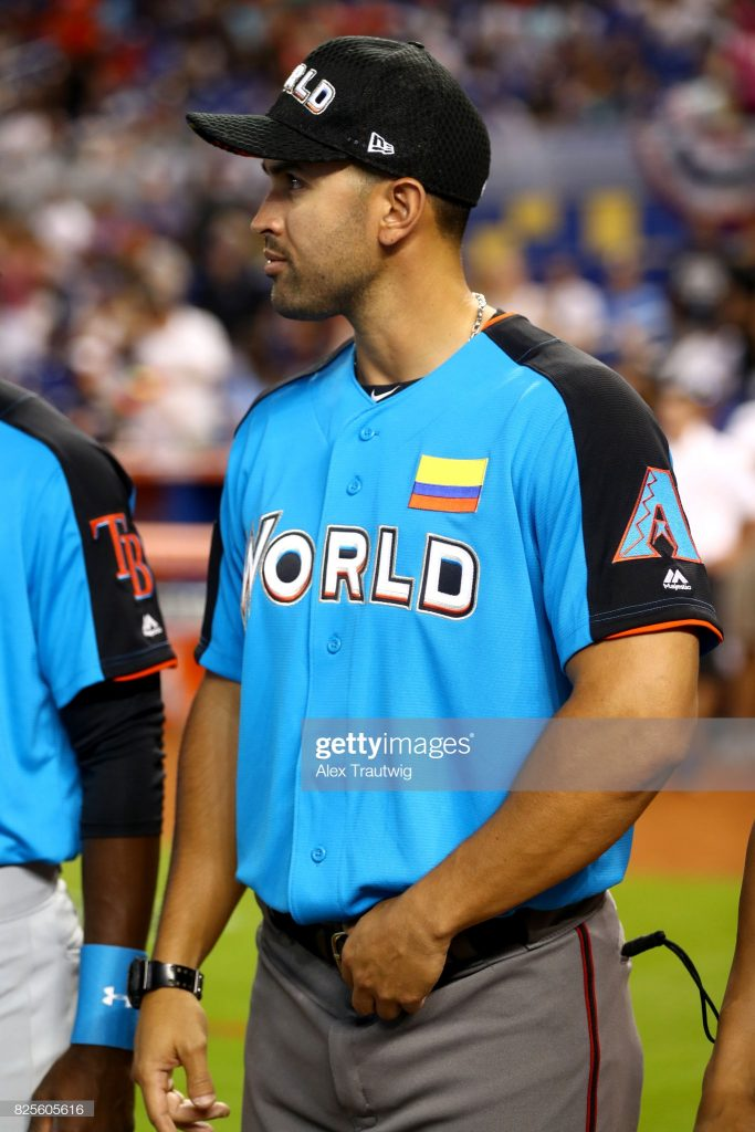 MIAMI, FL - JULY 9: Coach Luis Urueta of the World Team looks on during player introductions prior to the SirusXM All-Star Futures Game at Marlins Park on Sunday, July 9, 2017 in Miami, Florida. (Photo by Alex Trautwig/MLB via Getty Images)