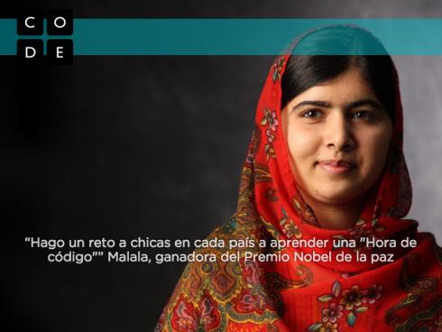 Foto de Malala invitando a aprender código