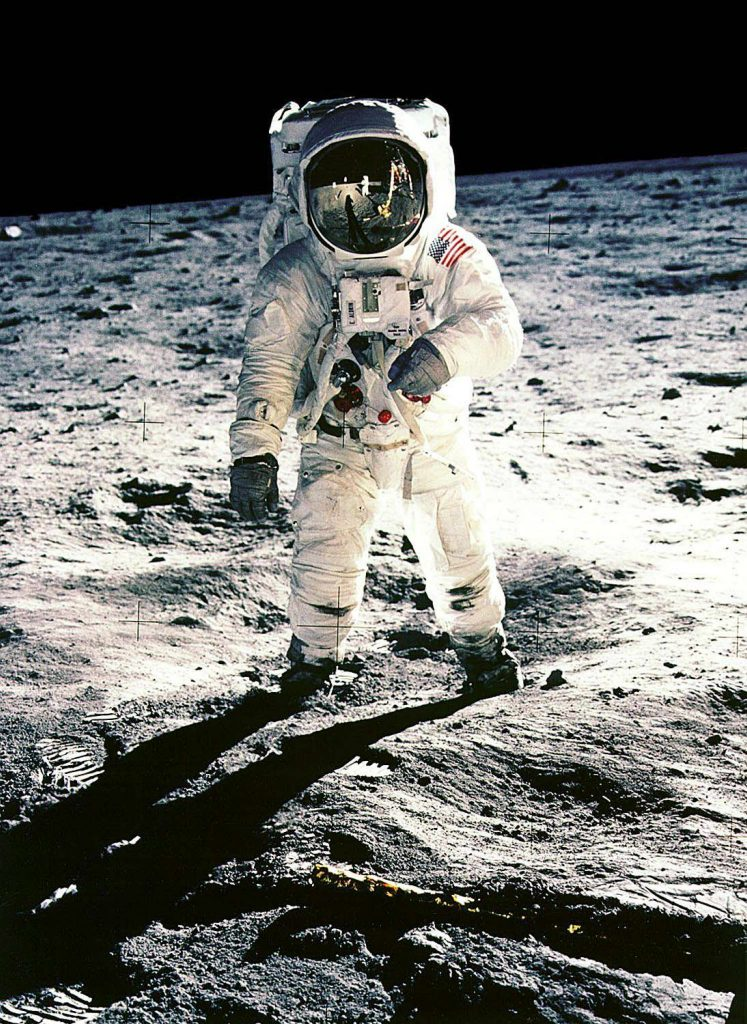 "(FILES) This 20 July 1969 file photo released by NASA shows Apollo 11 astronaut Edwin E. ""Buzz"" Aldrin, Jr. on the surface of the Moon as taken by fellow astronaut and first man on the Moon, Neil Armstrong. The 20th July 1999 marks the 30th anniversary of the Apollo 11 mission and man's first walk on the Moon. AFP PHOTO NASA"