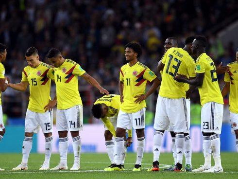 Jugadores de Colombia durante la tanda de penales contra Inglaterra