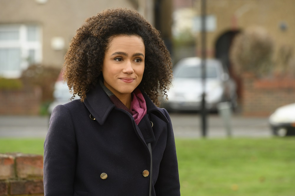"FOUR WEDDINGS & A FUNERAL -- ""XXX"" Episode 102 -- Pictured: Nathalie Emmanuel as Maya -- (Photo by: Jay Maidment/Hulu/Universal Television/MGM)"