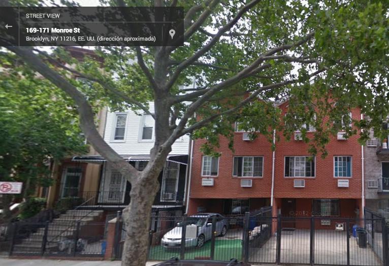 Vista de Google Street View del apartamento en el que arrendamos una habitación en Brooklyn
