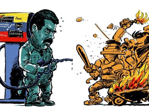 Weak spot Maduro. Caricatura de Maarten Wolterink. Tomada de: Cartoon Movement (https://www.cartoonmovement.com/cartoon/39083)