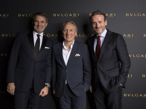 AMSTERDAM, NETHERLANDS - NOVEMBER 2:  (L-R) Lelio Gavazza, Willem van Gogh and Axel Ruege attend Bulgari facilitating homecoming of long lost van Gogh masterpieces at the Van Gogh Museum on November 2, 2017 in Amsterdam Netherlands. (Photo by Serge Ligtenberg/Getty Images for Bulgari) *** Local Caption *** Lelio Gavazza; Willem van Gogh; Axel Ruege