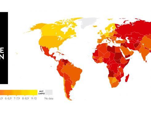 Mapa de calor de la corrupción en el mundo según Transparencia Internacional.