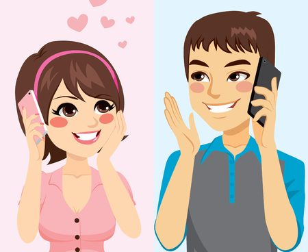 53794085 - cute young lovers talking with phone starting relationship
