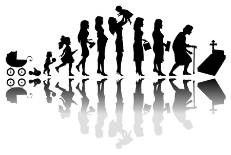 47327876 - time passing woman concept. illustration of life from birth to death