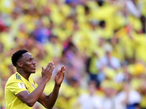 Mina celebra en el partido contra Senegal