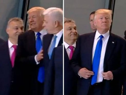 Trump empuja a dignatario